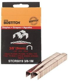 "5 Pack Bostitch STCR50193/8-1M 3/8"" Heavy Duty 7/16"" PowerCrown Staples - 1000 per Package by Stanley Bostitch. $19.56. Fastener Crown Length 7/16"". Fits Bostitch Tools PC1000, PC2000, PC4000, PC4000-OC1, PC5000, H30-8, P6C-8, USO56-1. Leg Length 3/8"". Quantity Per Item Pack 1,000. Staple Wire Gauge .050"" x .019""."