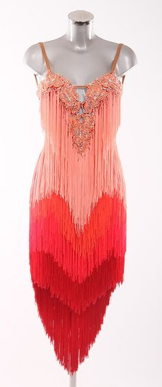 DSI Coral, Flame Red and Scarlet fringed dress