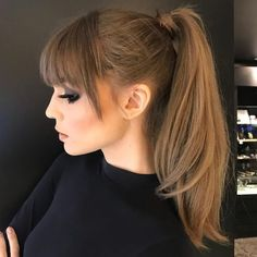 Party Hairstyles, Ponytail Hairstyles, Hairstyles With Bangs, Straight Hairstyles, Bangs Ponytail, Medium Hair Styles, Curly Hair Styles, Glamour Hair, Hair Upstyles