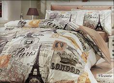 100% Cotton 3pcs Paris Brown Single Twin Size Duvet Quilt Cover Set Eiffel Vintage Theme Bedding Linens