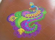 Freehand Peacock Rangoli Designs