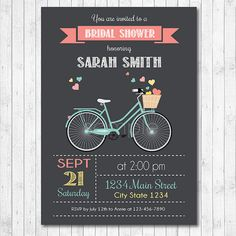Pretty white bicycle bridal shower invitation bridal shower vintage bike bridal shower invitation bicycle by funkymushrooms filmwisefo Choice Image