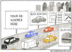 """Another cartoon from Tom Fishburne. This cartoon refers to a eye tracking study that highlights """"Banner Blindness"""" and how people look at web content. More info on this new finding here... http://tomfishburne.com/2012/06/your-ad-here.html    Will these findings impact the value of paid media?"""