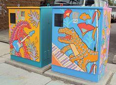 Utility Box Art: Rosscarrock and Killarney Get a Jurassic Paint Job Urban Street Art, Urban Art, Electric Box, Electric Utility, Murals Street Art, Painted Boxes, Public Art, Public Spaces, Outdoor Art
