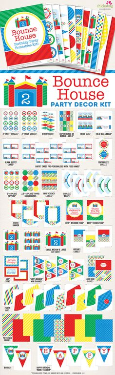 Bounce house printable party decor kit from Chickabug. Over 75 pages of fun designs. Makes decorating for your party SO EASY!