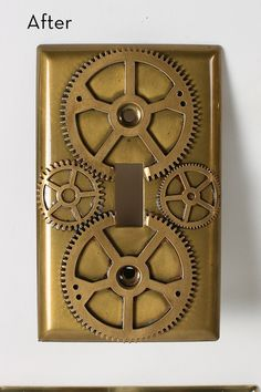 How to Steampunk your brass light switch plates. Since when did Steampunk become a verb?