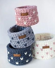 cesta de trico em fio de malha - faça você mesma