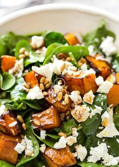 This Roast Pumpkin, Spinach and Feta Salad with a Honey Balsamic Dressing is a magical combination. Terrific side or as a meal. This Roast Pumpkin, Spinach and Feta Salad with a Honey Balsamic Dressing is a magical combination. Terrific side or as a meal. Salad Recipes For Dinner, Healthy Salad Recipes, Vegetarian Recipes, Cooking Recipes, Salads For Lunch, Spinach Recipes, Meal Salads, Christmas Salad Recipes, Vegetarian Salad
