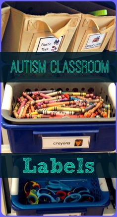 Organizing your classroom is KEY. Visual labels are an essential tool to help students with autism understand their environment & learn new vocabulary. Our packet includes over 40 labels to help you embrace organization! From theautismhelper.com