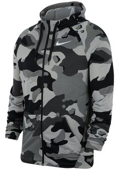 This Nike zip-up sweatshirt is made with Dri-FIT technology to keep you dry and ready to go all day long. Camouflage Hoodie, Camo Hoodie, Nike Outfits, Nike Logo, Nike Clothes Mens, Nike Vest, Trendy Hoodies, Camo Men, Custom T Shirt Printing