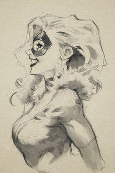 Black Cat by Nabeste Zitro * Comic Book Artists, Comic Books Art, Comic Art, Comic Drawing, Drawing Sketches, Art Drawings, Comics Sketch, Cat Profile, Comics Girls
