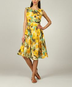 Another great find on #zulily! Yellow Floral A-Line Dress - Women & Plus by Kushi by Jasko #zulilyfinds