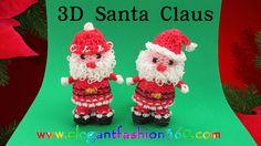 Rainbow Loom Santa Claus 3D Charm.Holiday.Christmas.Ornament - How to Loom Bands Tutorial