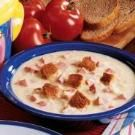 Creamy Reuben Soup Recipe - used 1 can evaporated milk instead of 1/2 and 1/2, increased broth to 1 can, and used dried celery pieces and dried red and green peppers (Penzey's); for sour kraut used Frank's Bavarian