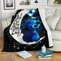 Stitch Moon Premium Blanket - Estás en el lugar correcto para homemade hand sanitizer Aquí presentamos home office ideas que es - Lelo And Stitch, Lilo Y Stitch, Cute Stitch, Lilo And Stitch Blanket, Disney Stitch, Lilo And Stitch Quotes, Disney Bedding, Stitch And Angel, Disney Bedrooms