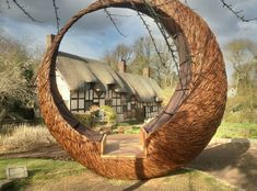 Wonderful Brown Color Wood Unique Design Moon Sculp Be Equipped Grass House Landscape At Garden As Well As Sculptures Also Contemporary Garden Sculptures, Unique Design Willow Garden Sculptures Wonderful: Exterior - My Cottage Garden