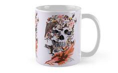 Birds, butterfly and Sugar Skull Mugs #mugs #travelmugs #Birds #butterfly #Sugar #skull #skeleton #dayofthedead #diasdemuertos #jackskellingtons #halloween #scary #thenightbeforechristmas #animal #bone #tattoo #hippie #hipster #aztec #maya #indian #feather #bird #mexico #mexican #hauntedmansion #ghost #monster