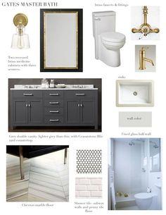 master bath / gray, white & brass