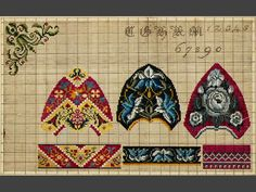 Mönster. För korssöm, målat på upprutat papper. 3 toffelmönster, hörnmotiv, bokstäver och siffror
