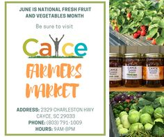 Celebrate National Fresh Fruit and Vegetables Month! Stop by the Cayce Farmers Market #freshfood #foodienews #TimeforLife #TimetoEat