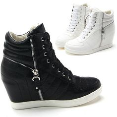 Womens Black White Side Zip Wedge High Tops Sneakers / Ankle Boots Trainers #itemtrend511 #FashionSneakers