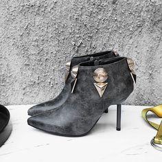 Shoespie Patchwork Plain Side Zipper Ankle Boots