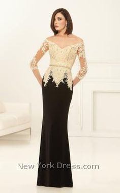 Lace Excellence Two-Tone Evening Dress by Eleni Elias