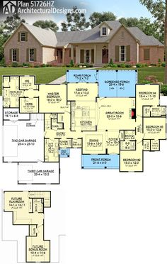 Architectural Designs Acadian House Plan 51726HZ has upstairs expansion with a great kids room, bonus room and bath. Almost 3,200 sq. ft. of living on the main floor. Ready when you are. Where do YOU want to build?