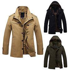 Hombres Caliente Chaquetas forrada de piel de invierno espesa con capucha T5