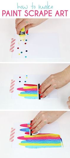 How to make Paint scrape art with persia lou - DIY ART PROJECT IDEA – PAINT SCRAPE NOTECARD SUPPLIES: heavyweight paper, such as cardstock or watercolor paper trimmed to 8.5″ x 5.5″ A2 sized envelopes acrylic paints (I used and recommend DecoArt Media Fluid Acrylics, which are highly pigmented and flow like a dream) masking tape or washi tape an old credit card or rewards card paper towels & cleaner or wipes – you will be making a mess! metallic gold letter stickers or whatever letter…