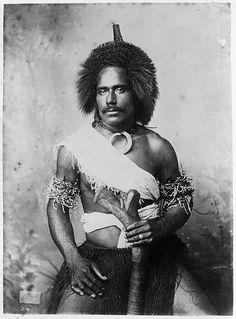 Unidentified Fijian man wearing (traditional?) clothing