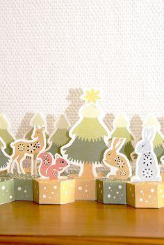 """Printable - Calendrier de l'Avent en papier """"animaux de la forêt"""" / Advent paper calendar"""