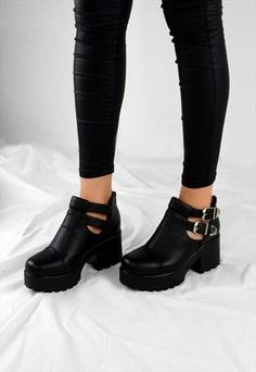 19bfd0cf625 FAITH Chunky Heel Cut Out Grip Platform Buckle Ankle Boots ...
