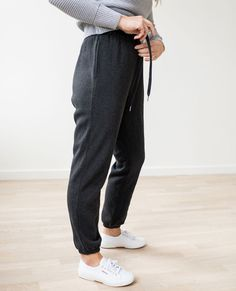 Heathered Pant In Brushed French Terry in Very Black Heather - main