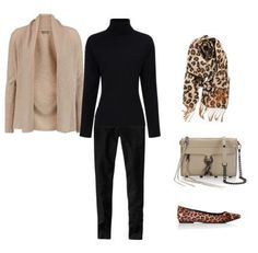 taupe cardigan - black turtleneck - black jeans. I would wear either the leopard flats or the leopard scarf, not both accents together....