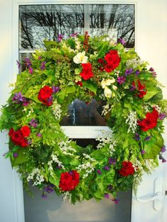 Summer Wreath with Red Geranium and Yellow Freesia