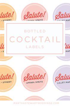 Bottle Cocktail Labels | Martha Stewart Weddings