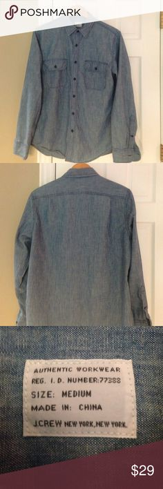 "J Crew long sleeve chambray button down shirt sz M J Crew chambray shirt...the essential ""goes with everything"" shirt!   Excellent condition! Size medium J. Crew Tops Button Down Shirts"