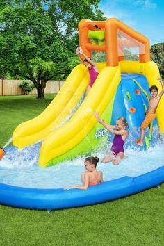 Bestway Go Mount Splashmore Mega Water Park - Big Lots Water Slide Bounce House, Kids Water Slide, Blow Up Pool, Blow Up Water Slide, Water Slides Backyard, Backyard Water Parks, Inflatable Water Park, Inflatable Bounce House, Play Pool