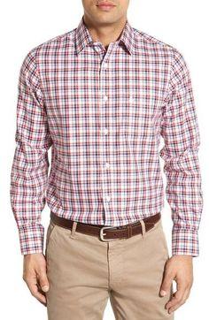 Smartcare™ Regular Fit Plaid Sport Shirt (Regular & Tall)