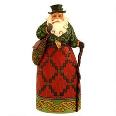 "This Jim Shore exclusively designed 7"" tall Irish Santa figurine is entitled, ""Nollaig Shona Dhuie."""