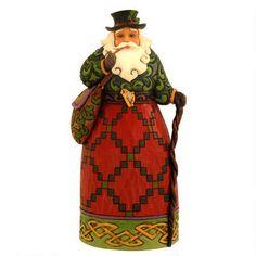 "This Jim Shore exclusively designed 7"" tall Irish Santa figurine is entitled, ""Nollaig Shona Dhuie."""