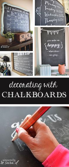 Chalkboard can be so much and a great way to add decor around your house. Check out how easy it is to get decorating with chalkboards!
