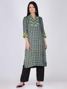 Buy Yellow Blue Block Printed & Shibori Satin Modal Kurta Women Kurtas Online at Jaypore.com