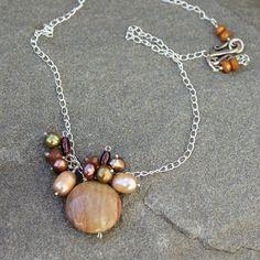 Stone Necklace  Cluster of Garnet Pearls Golden