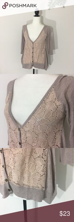 ba507d5e8e Anthropologie Knotted   Knotted Crochet Cardigan Anthropologie Knitted    Knotted Size small Tan button front cardigan