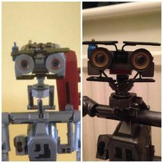 Before and after customising Johnny 5 toy!