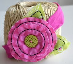 Embroidered pink flower headband by ShuhpuppyAndDeppy on Etsy, $5.50