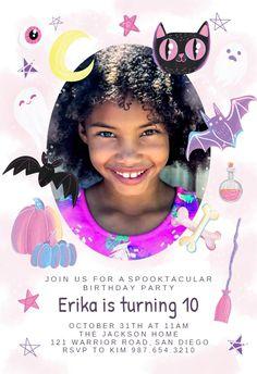 Sweet pink Halloween - Birthday Invitation #invitations #printable #diy #template #birthday #party