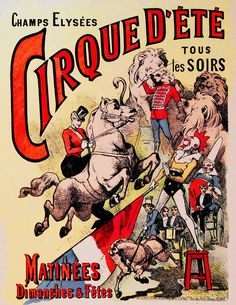 Giclee Print: Poster for Cirque d'Ete (Summer Circus) in the Champs Elysees Paris : Vintage Circus Posters, Retro Poster, Carnival Posters, Print Poster, Vintage Images, French Vintage, Vintage Art, Etsy Vintage, Cirque Vintage